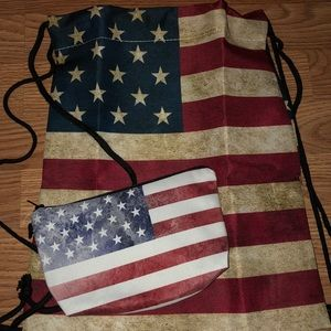New USA Backpack and cosmetic bag